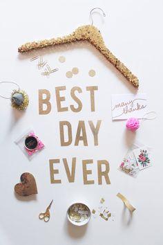 BEST DAY EVER Gold Glitter Letter Banner