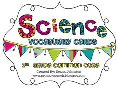 135 vocabulary cards to teach the 1st grade science common core standards!!