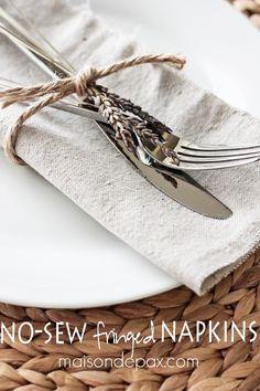 Simple, natural, and beautiful!  No sew drop cloth napkins are SO easy! via maisondepax.com #diy #nosew