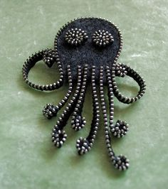 Recycled Felted Wool Sweater/ Zipper Brooch/Pin- Gray Octopus with Silver Zipper via Etsy