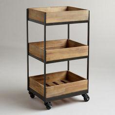 3-Shelf Wooden Gavin Rolling Cart | World Market