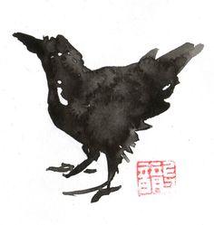sumi-e crow