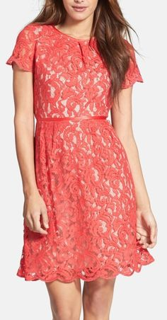 Coral & scalloped lace dress http://rstyle.me/n/kt7bin2bn