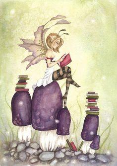 purple fairy reading
