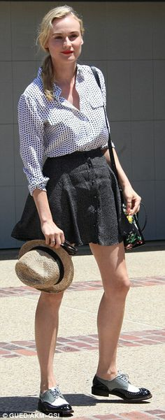 Her shoes!!! Robert Clergerie brogues.