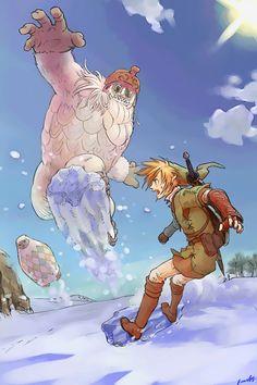 Snowboarding with the yeti (from Zelda : Twilight Princess)