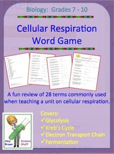 """FREE SCIENCE LESSON - """"Cellular Respiration Word Game Review"""" - Go to The Best of Teacher Entrepreneurs for this and hundreds of free lessons.  7th - 10th Grade    #FreeLesson   #TeachersPayTeachers   #TPT   #Science     http://www.thebestofteacherentrepreneurs.net/2012/03/free-science-lesson-cellular.html"""