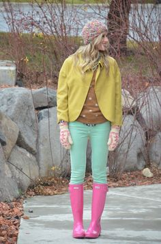 Pink Hunter boots + turquoise pants