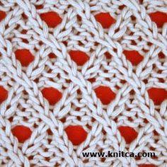 Right side of knitting stitch pattern – Lace 6