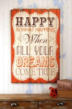 """Multicolor """"Dreams Come True"""" Wood Sign"""