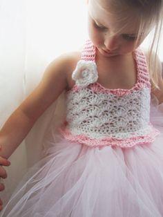 Tutu Dress Crochet Bodice craft, idea, dress crochet, tutu dresses, flower girl dresses, babi, flower girl tutu dress diy, flower girls, crochet bodic