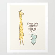 hippo I don't want to grow up Art Print by Ilovedoodle - $25.00