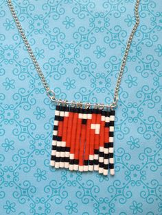 Mini Hama Bead Black White Striped Love Heart Necklace