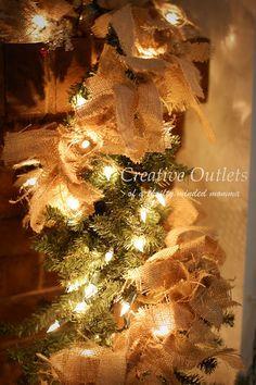 Burlap Christmas Decor.  Love the simplicity of it!
