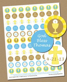 Hershey Kiss Stickers for a boy's First Communion party, $10.00   #Catholic