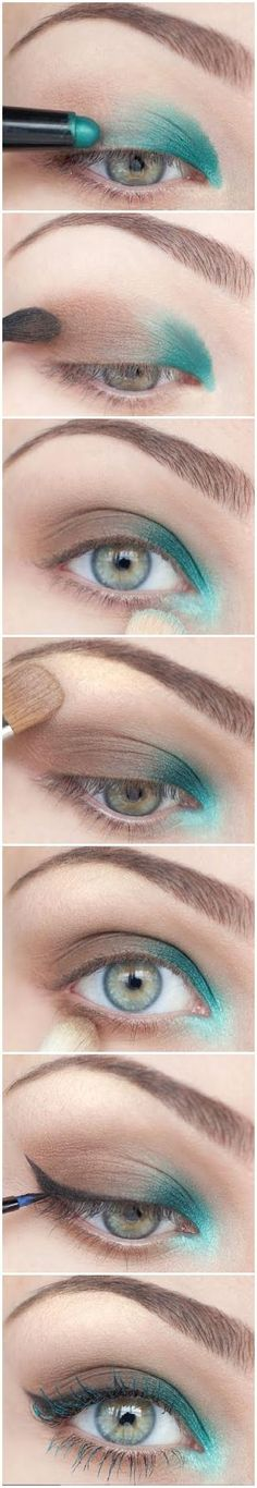 reverse smokey eye with a pop of color. A little different :)