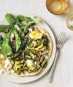 Grilled Pizzas With Ricotta, Summer Squash, and Scallions recipe