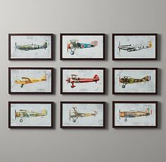 Vintage Prop Plane Art | Art | Restoration Hardware Baby & Child- make into mobile over crib.