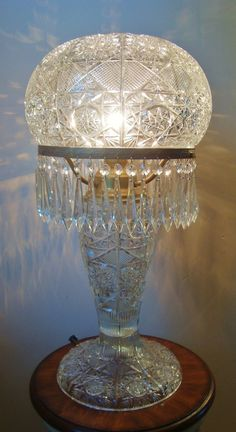 Huge antique 19 C Victorian American brilliant period cut crystal glass lamp with mushroom shade.