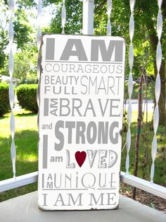 I am STRONG - Motivational FAMILY RULES -Typography Word Art Sign on wood- Distressed