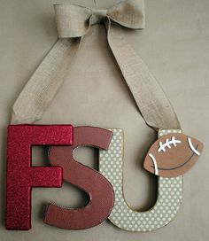 Custom, Unique, and Made-to-Order FSU-Garnet and Gold Gliter Themed Letter Wall Art. Sports Team Wreath. $30.00, via Etsy.