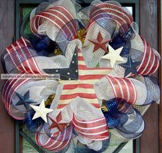 Patriotic Memorial Day 4th of July Deco Mesh Wreath by myfriendbo