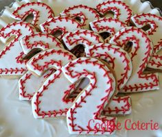 Baseball Cookies Number Cookies Birthday Favors Decorated Cookie Party Favors. $17.00, via Etsy.