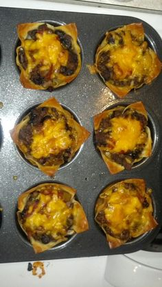 Made these Mini Taco Cups for dinner the other night. My husband just ...