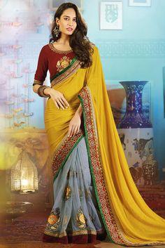 Amazing Ash Grey and Golden Yellow #Saree