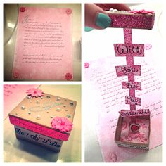 How I popped the question to my girls! A letter then handed them the box & inside it says will you be my bridesmaid w/ a plastic ring :)