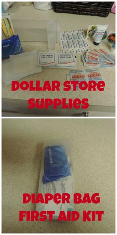 Crystal Light container and dollar store supplies equals a first aid kit for pennies! Perfect for the diaper bag or purse.