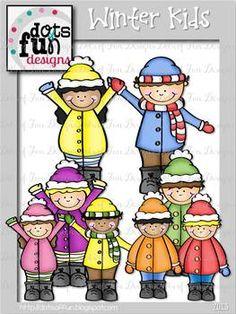 Free - Clip Art: Winter Kids ~Dots of Fun Designs~