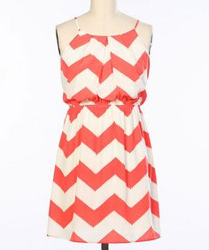 Loving this Coral & White Zigzag Blouson Dress on #zulily! #zulilyfinds