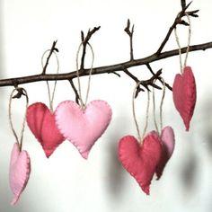 . holiday, valentine day ideas, valentine crafts, valentine day crafts, felt hearts, valentine decorations, branch, felt ornaments, fabric hearts