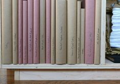 Cookbooks Covered in Kraft Paper and Red Rosin Paper, Remodelista