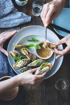 // Roasted Zucchini + Soba Noodle Summer Rolls {Vegan + Gluten-Free}