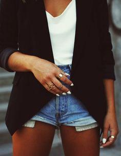 #white to the point....#black #blazer #highwaisted #shorts #midiring #white #tshirt #nailpolish #womens #fashion #style