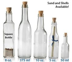 MESSAGE IN A BOTTLE  - WITH TAPERED CORKS GLASS BOTTLES..omg  Im sending the wedding invitations in these 8oz square one with sand and shells!!!!!