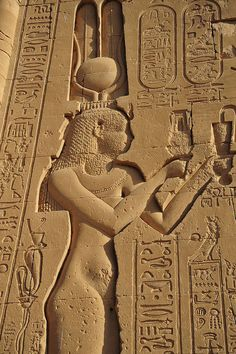 One of the few temple wall carvings depicting Cleopatra, Dendera temple, Egypt