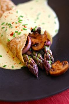Savory Vegan Asparagus Crepes with Hollandaise Sauce: brunch anyone?