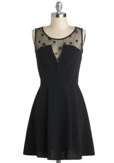 Written in the Stars Dress: When reading your wardrobes fortune  theres one certainty – you were meant to wear this stellar  little black dress! The center of tonights dramatic ensemble  t…    #1960s #60s #Retro #Vintage #Black, #ModCloth, #WrittenInTheStarsDress
