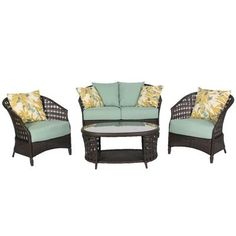 Hampton Bay - HAVER HILL IV 4pc Woven Conversation Set - 14H-062-4DS-V3 - Home Depot Canada