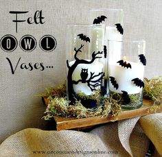Felt Owl Halloween Vases