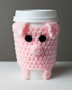 Crocheted Cuddly Pink Pig Coffee Cup Cozy by Cuddlefish Crafts craft, cup cozi, pigs, pink pig, coffee cups, knit, crochet pattern, coffe cup, crochet cudd