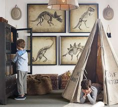 Love the detail - dino pics, binocs and explorer hats. This would look good in the boy's cabin.