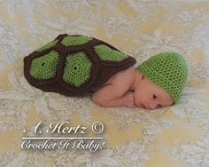 Crochet Turtle/Tortoise Cover and Hat Photo Prop by CrochetItBaby, $5.00