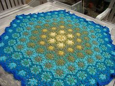 made out of cotton, this would make a great rug, but w/o the ruffled edge...love the color pattern crochet blankets, color combos, crochet granny blankets, blue green, afghan, color patterns, color combinations, crochet rugs, hexagon