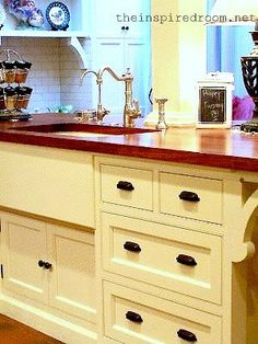 How to add affordable architectural personality to your kitchen faucet, color, cabinet, kitchen sinks, farmhouse kitchens, farmhouse sinks, wood countertops, farm sinks, drawer pulls
