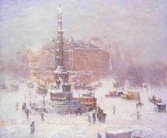 Columbus Circle in Winter 1911. Guy Wiggins.