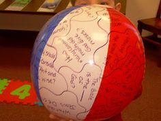 Beach Ball Turned Review Game for Bible Class!!!  I've done this and the kids love it!! For @Tammy Tarng Tarng Cardinal